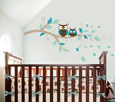 Owl and Branch Wall Decal, Owls on a Branch Wall Decal, Owl Branch for Baby Nursery for Kids or Childrens Room 061 on Etsy, $41.00