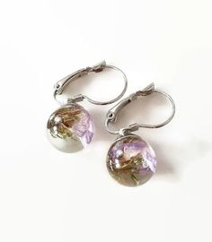 aa8970a42 Resin Sphere Earrings Silver / Real Dried Flower / Purple Sea Lavender /  Mothers Day Gift / Gift for Bridesmaid / Dainty Gift for Mom