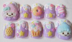 Kawaii Nail Art, Cute Nail Art, 3d Nail Art, Nail Arts, Cartoon Nail Designs, Cute Nail Designs, Simple Nail Art Videos, Unicorn Makeup Brushes Set, Sassy Nails