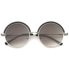 5449af4466 Retro Metal Frame Thin Temple Top Trim Flat Lens Round  sunglasses 51mm