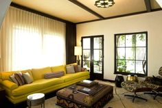Living Room:Unique Living Room Coffee Table Plus Lounge Chair And Yellow Couch Feat Black And White Curtain Ideas Bright Living Room Decor with Stunning Yellow Couch