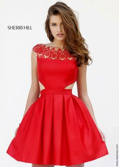 Sherri Hill 9756 Red Laser Cut Out Short Dress - In stock now - Homecoming 2015