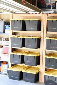 to Make Wood Storage Shelves - Live Like You Are Rich - How to Make Wood Storage Shelves -How to Make Wood Storage Shelves - Live Like You Are Rich - How to Make Wood Storage Shelves - The Ultimate Garage Storage / Workbench Solution. By: Mike Montgomery Wood Storage Shelves, Garage Wall Shelving, Garage Storage Racks, Garage Organization Systems, Garage Storage Solutions, Garage Shelf, Storage Ideas, Organization Ideas, Ceiling Storage