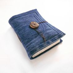 Blue Denim Jeans Handmade Journal, Notebook, Diary, Stitched, Recycled