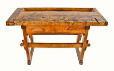 c. 1910-20 refinished antique american industrial four-legged maple wood christiansen workshop carpenter's bench with single pull-out drawer and deeply recessed tool tray.