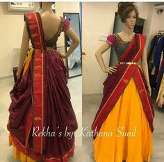 Handloom skirt paired with Pattu draped dupatta and embroidered contrast blouse 📞 Call or 📧 whatsapp @ . Half Saree Designs, Fancy Blouse Designs, Saree Blouse Designs, Designer Lehnga Choli, Lehenga Saree Design, Sari, Saree Wearing Styles, Saree Styles, Designer Party Wear Dresses