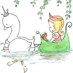 Nursery Art Print for Baby and Children Swan by trafalgarssquare Childrens Wall Art, Princess Art, Baby Art, Cute Illustration, Nursery Art, Cute Drawings, Cute Art, Original Paintings, Art Prints