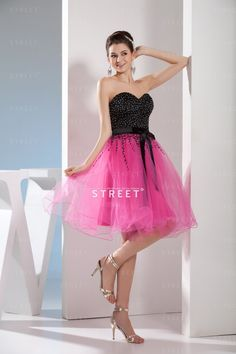 Cute Hippie Petite Black And Pink Sweetheart Sequin Beaded Knee-length Sweet 16 Court Dress