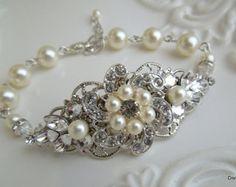 Pearl Bridal Bracelet Ivory or White PearlsBridal by DivineJewel