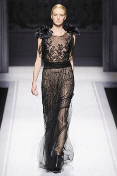 Embroidery, flowers and roots.  Alberta Ferretti, Fall 2012 RTW