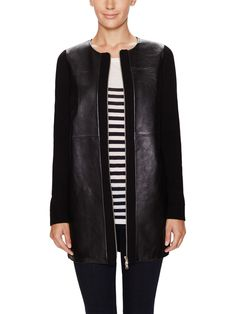Leather Seamed Wool Coat from New Classics: Everything Leather on Gilt