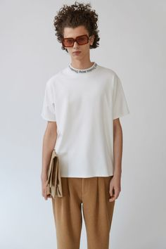 Acne Studios Navid optic white is a short sleeved t-shirt with an intarsia Acne Studios ribbed neckline.