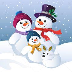 Snowman Family Group and a Snow Dog - Christmas Seasons/Holidays Christmas Clipart, Christmas Snowman, Christmas Time, Iphone Wallpaper Moon, Snowman Images, I Love Winter, Snow Dogs, Cute Snowman, Winter Photos