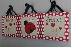Sweet Dreams LadyBug Canvas Wall Art With by BabySullysArt on Etsy, $184.00 Ladybug Nursery, Baby Ladybug, Bug Crafts, Crafts To Make, Baby Mine, Class Decoration, Painted Sticks, Craft Show Ideas, Mini Canvas