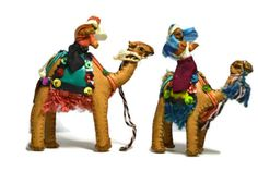 Pair Leather Camels Nativity