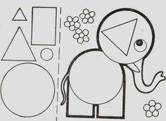Vejam só que legal estes animais feitos a partir de figuras geométricas.                                Fonte:http://blogcantinhoalternati...