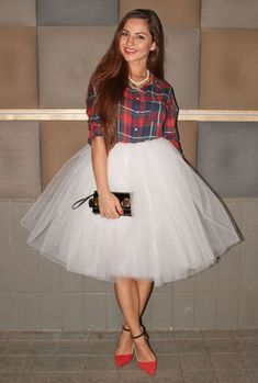 Cream tulle skirt, plaid shirt | Fashion and clothes I love ...