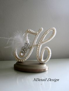Wedding Cake Topper Monogram Letter H in Ivory by NDetailDesign, $120.99