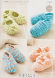 Sirdar snuggly 4ply baby shoes 4509