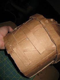 Happily Ever Crafter: DIY: Building a Medieval Helmet Out of Cardboard Hiccup Costume, Shrek Costume, Celtic Costume, Medieval Banner, Knight Shield, Medieval Helmets, Knights Helmet, Cardboard Houses, Crafts