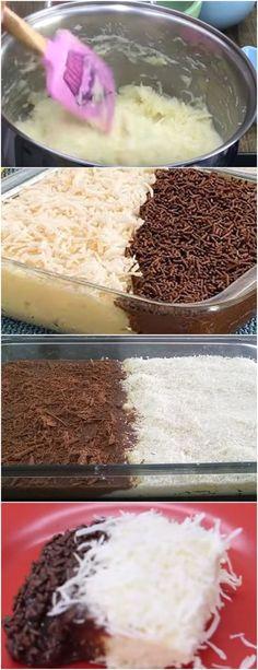 SOBREMESA MARAVILHOSA, CASADINHO NA TRAVESSA!! VEJA AQUI>>>Em uma panela coloque o coco,1 lata de leite condensado, metade da maisena dissolvida em 1 xícara (chá) do #receita#bolo#torta#doce#sobremesa#aniversario#pudim#mousse#pave#Cheesecake#chocolate#confeitaria Chocolate Flavors, Chocolate Recipes, Flan, Mousse, Experiment, Cold Desserts, Sugar And Spice, Vanilla Cake, Cheesecake
