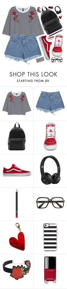 """""""Back to Reality"""" by virginia-laurie ❤ liked on Polyvore featuring French Connection, Vans, Beats by Dr. Dre, NARS Cosmetics, ZeroUV, Edie Parker, Casetify, WithChic, Chanel and Maybelline"""
