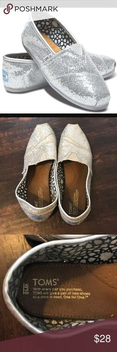 EUC Silver sparkly Tom's flats EUC Silver sparkly Tom's flats. In great shape and only worn a handful of times! :) TOMS Shoes Flats & Loafers