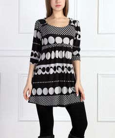 Look what I found on #zulily! Black & White Dot Empire-Waist Tunic #zulilyfinds