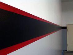 Simple Black And Red Stripe Wall Paint Ideas For Garages Garage Paint Colors, Painted Garage Walls, Black Painted Walls, Red Walls, Wall Colors, Garage Design, House Design, Garages, Garage Interior