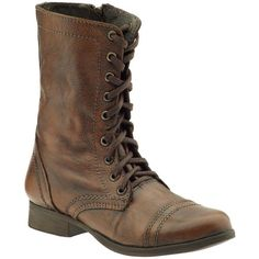 """Steve Madden Troopa Boot. Lace-up combat boot. Stitch and cap-toe detail. 1"""" heel. Leather lining. Rubber outsole. Side-zip closure. 8"""" shaft height, 12"""" circu…"""