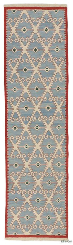 """K0044452 Blue New Handwoven Turkish Kilim Runner - 3' x 10' 11"""" (36 in. x 131 in.) Discount Area Rugs, Area Rugs For Sale, Kilim Runner, Custom Rugs, Turkish Kilim Rugs, Floor Rugs, Vintage Rugs, Hand Weaving, Carpets Online"""
