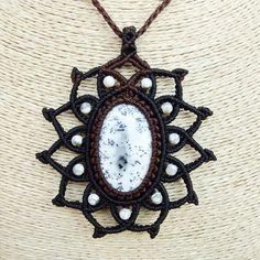 Macrame Necklace Pendant Dendrite Opal Stone Quartz Waxed Cord Handmade Cabochon #Handmade #Pendant