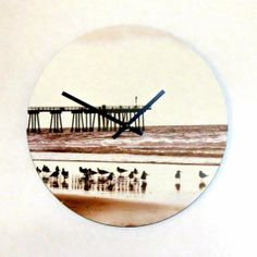 Unique wall clock autumn trends decor and by shannybeebo on etsy unique beach wall clock sepia print beach scene by shannybeebo 5100 voltagebd Images