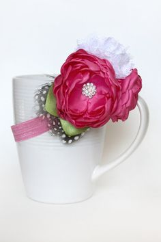 Fuschia Flowers with Feathers by JensBowdaciousBows on Etsy