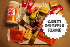 Halloween Candy Wrapper Picture Frame Craft www.ct.mommypoppins.com