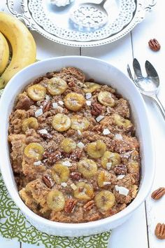 Overnight Banana French Toast Bake with Streusel makes the perfect weekend breakast.