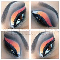 Products Used: Nyx eyeshadow base in white, Nyx Black eyeliner to cut the crease, Sleek acid palette> Black: to intensify the crease-White for inner corner, Creative me palette #1 for the 2 oranges and Red on the outter V.  lashes are Ice Brand in #012BL✨✨ - @kimjluv