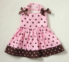 S Pretty Pink and Brown Polka Dot Dog dress clothes pet apparel Small PC Dog® Cute Teen Outfits, Girl Outfits, Scene Outfits, Dog Clothes Patterns, Cat Dresses, Dog Items, Puppy Clothes, Pet Fashion, Dog Wear