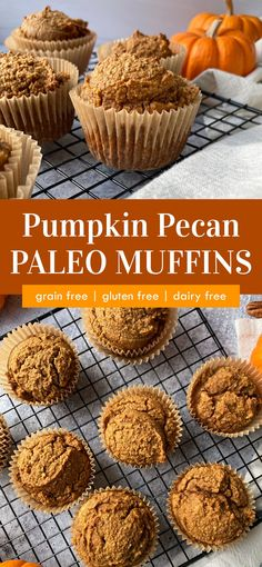 These Paleo Pumpkin Pecan Muffins are the perfect fall flavored treat; healthy enough for breakfast or eaten as an afternoon snack. This gluten free pumpkin muffin recipe is made in a food processor or high powered blender and is ready to bake in 5 minutes. #pumpkinpecan #pumpkinmuffins #paleomuffins Pumpkin Muffin Recipes, Healthy Muffin Recipes, Healthy Muffins, Gluten Free Pumpkin, Gluten Free Baking, Clean Eating Muffins, Free Breakfast, Breakfast Ideas, Breakfast Recipes