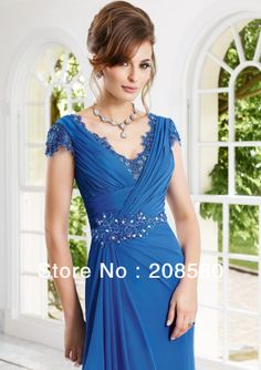 Royal Blue Cap Sleeve Beading Chiffon Mother of the Bride Dress Plus Size Long 2014 New Fashion M1868
