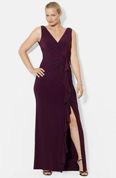 Lauren Ralph Lauren Ruffled Matte Jersey Gown (Plus Size) available at #Nordstrom