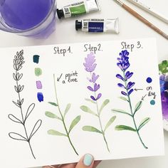 Hey ☺️🎨new tutorial lavender as you requested 💜just 3 easy steps 🌸swipe for zoomed steps ☺️😉🏻dearannart… Easy Watercolor Flowers Step by Step Tutorial. Easy Watercolor Flowers Step by Step Tutorial Great little watercolor project Watercolor Drawing, Watercolor Cards, Painting & Drawing, Watercolor Trees, Watercolor Landscape, Watercolor Animals, Watercolor Background, Abstract Watercolor, Watercolor Illustration