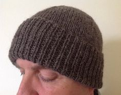 Men's Brown 100% Virgin Wool Aran Beanie Hat   Hand by sewmoira