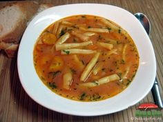 My absolute favorite when I go to Romania in the summers! Grandma makes the best! Vegan Recipes Beginner, Great Recipes, Soup Recipes, Favorite Recipes, Vegetarian Soup, Vegetarian Recipes, English Dishes, Romania Food, Bean Soup