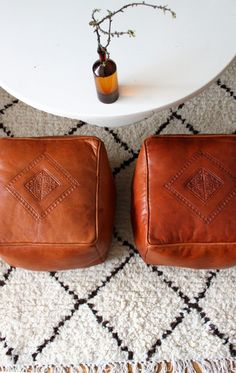 Leather square poufs