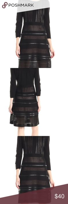 Calvin Klein Faux-Leather Trim Sweater Dress Brand: Calvin Klein \  Color: Blacks  \ Condition: New with tags   Product Details: Color: Black | Size Type: Regular | Size (Women's): S Lined: Yes | Sleeve Style: Long Sleeve |  Style: Sweater Dress Dress Length: Above Knee, Mini | Material: Acrylic \ Zipper: None Calvin Klein Dresses Mini