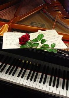 Rose on Piano Music Pics, Music Images, Music Pictures, Piano Keys, Piano Music, Stylist Tattoos, Inspirational Music, Music Aesthetic, Classical Music