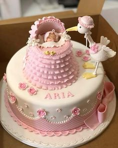 23 Gorgeous Baby Shower Cakes for Girls - Torten - Kuchen Pretty Cakes, Cute Cakes, Beautiful Cakes, Amazing Cakes, Tortas Baby Shower Niña, Torta Baby Shower, Baby Cakes, Pink Cakes, Decoration Patisserie