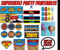 Superhero Party Set  Personalized by funtasticprintables on Etsy, $21.99