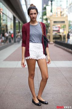Transition lace shorts to the classroom with an oversized cardi and cute ballet flats.